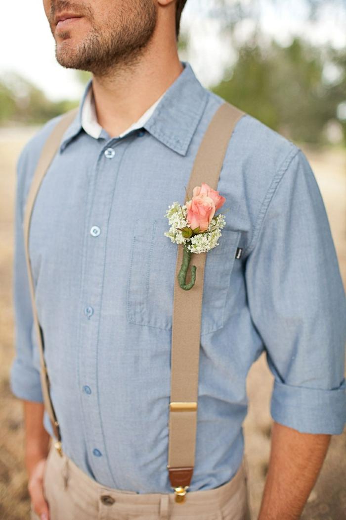 tenue mariage homme idée avec des bretelles