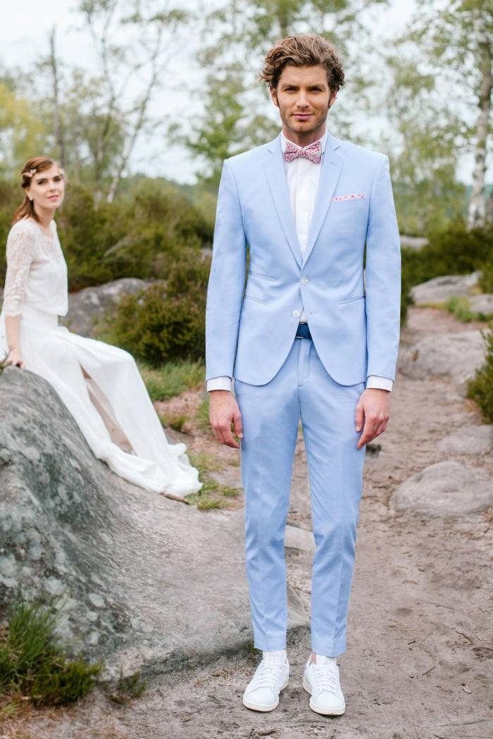 tenue mariage homme mariage champêtre costume bleu clair