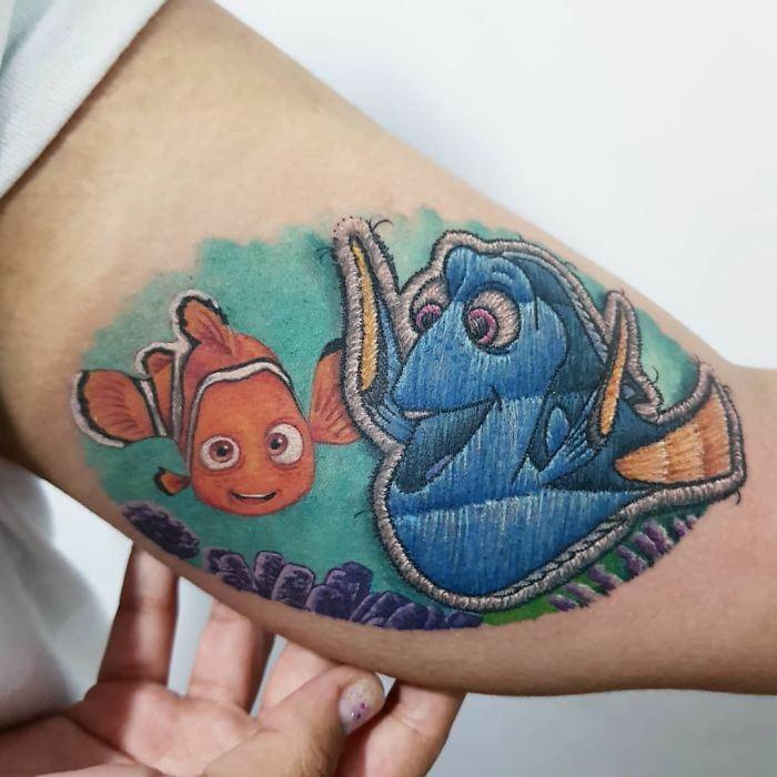 trend tatouage broderie nemo