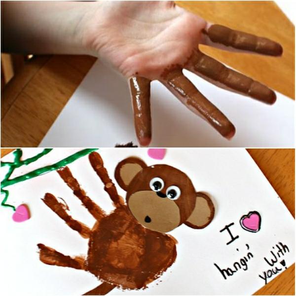 Cadeau Fête des Pères DIY - idées créatives pour enfants et mamans carte empreinte de main
