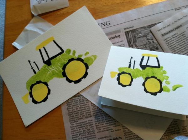 Cadeau Fête des Pères DIY - idées créatives pour enfants et mamans carte empreinte de pied