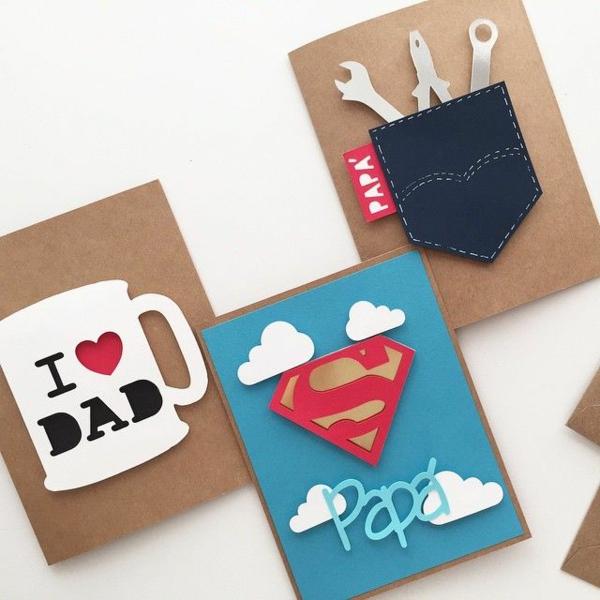 Cadeau Fête des Pères DIY - idées créatives pour enfants et mamans cartes originales en carton