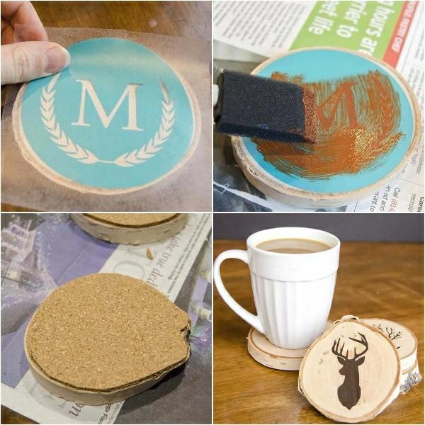 Cadeau Fête des Pères DIY - idées créatives pour enfants et mamans dessous de tasse en bois avec décoration