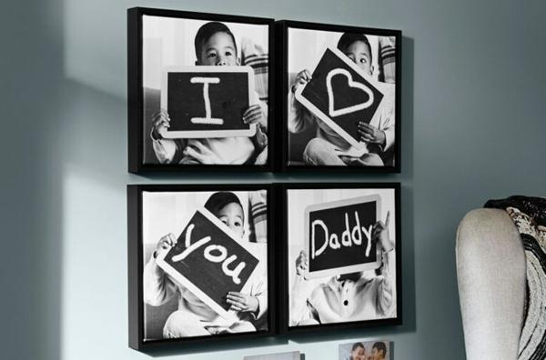 Cadeau Fête des Pères DIY - idées créatives pour enfants et mamans mur photo