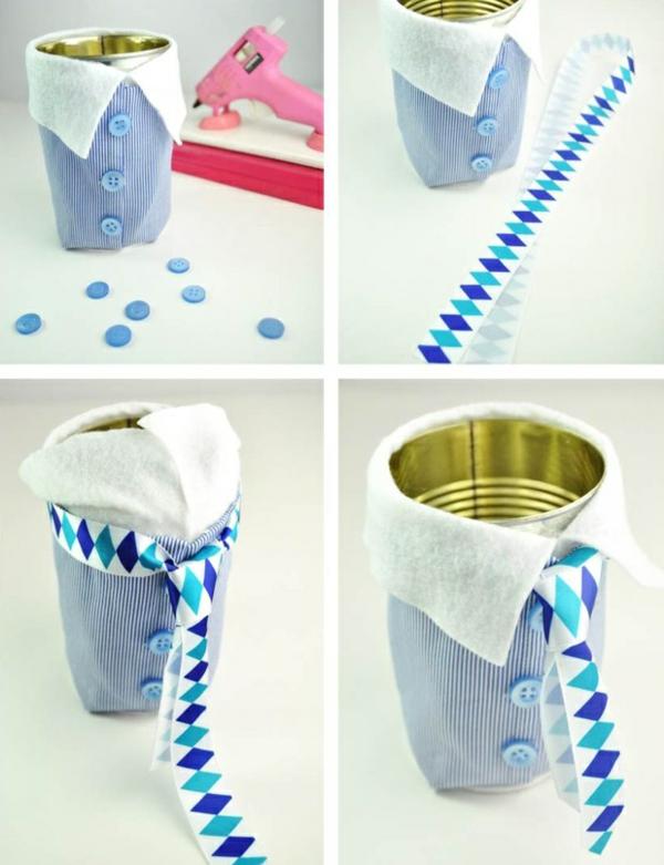 Cadeau Fête des Pères DIY - idées créatives pour enfants et mamans pot à stylos boîte de conserve