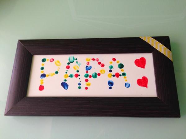 Cadeau Fête des Pères DIY - idées créatives pour enfants et mamans tableau art peinture