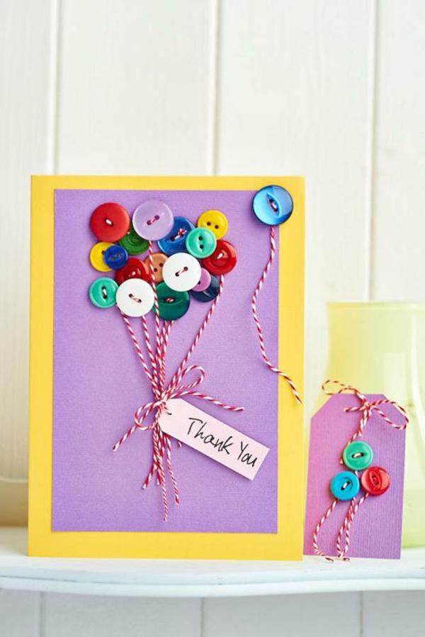 Carte Fête des Mères originale à fabriquer vous-même boutons colorés fil de boulanger