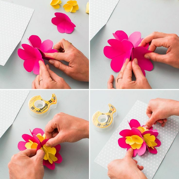 Carte Fête des Mères originale à fabriquer vous-même carte pop up fleur