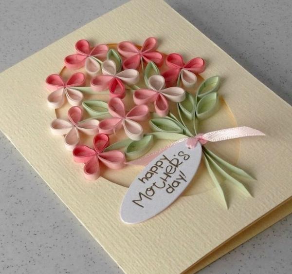 Carte Fête des Mères originale à fabriquer vous-même fleurs quilling