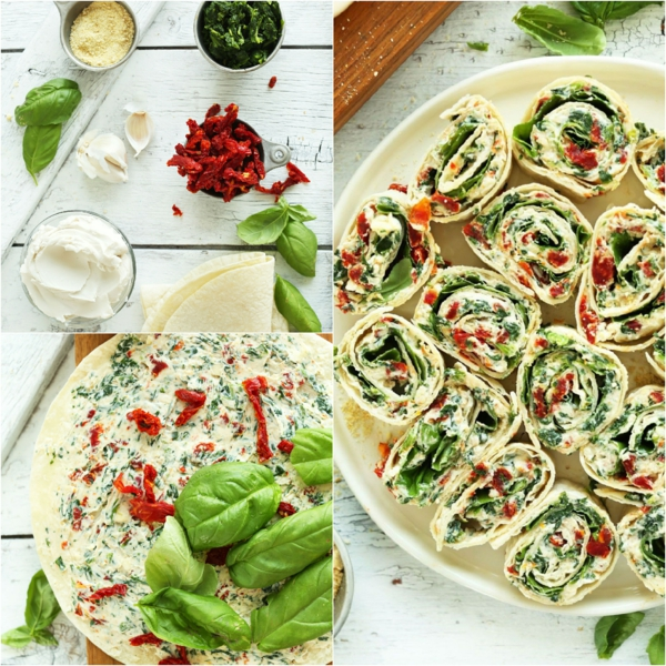 Wrap apéro végan aux tomates séchées et au basilic