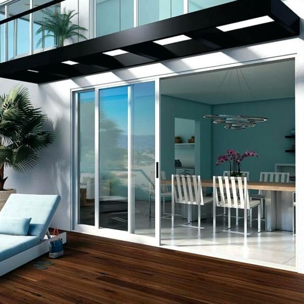 baie vitrée coulissante à galandage design contemporain