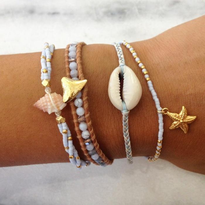 bijoux coquillage beacelet à tricoter