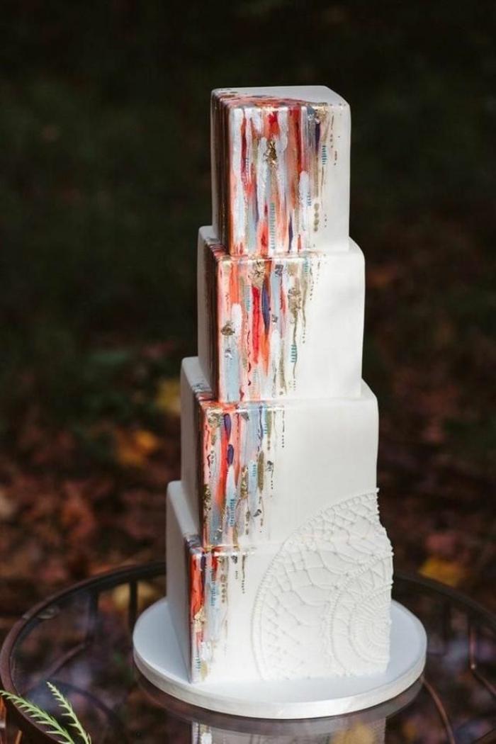 brushstroke cake gâteau de mariage 2019