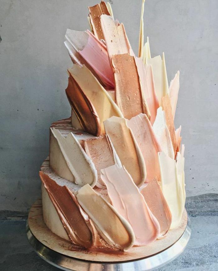brushstroke cake gâteau de mariage design