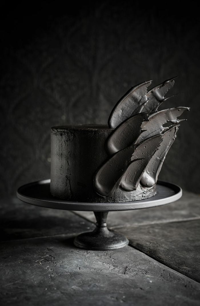 brushstroke cake gâteau de mariage noir