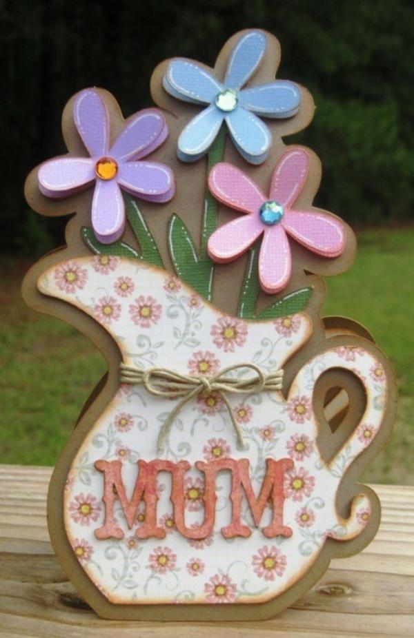 carte Fête des Mères originale à fabriquer vous-même vase de fleurs en carton