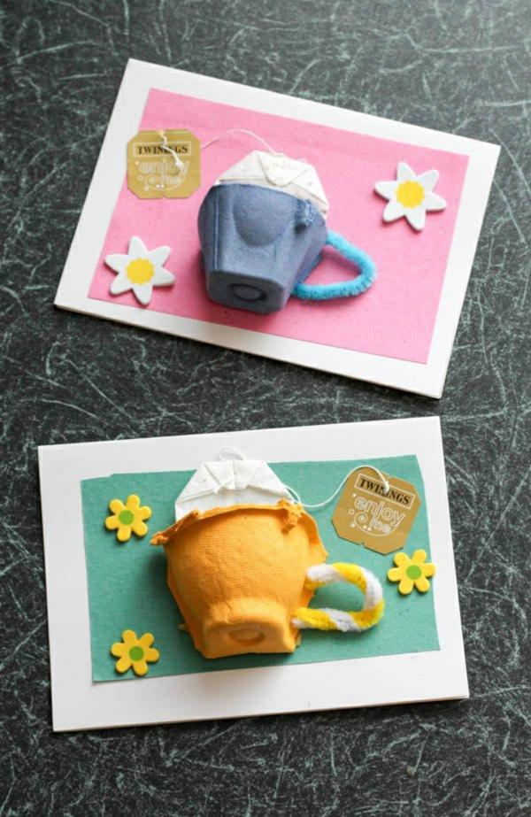 carte fêtes des mères personnalisée tasse à thé en carton boîte à oeufs
