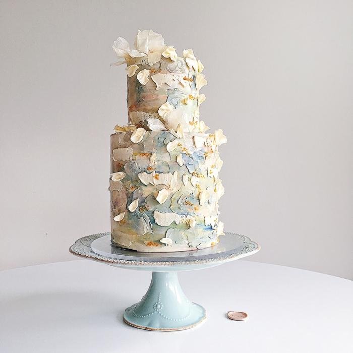 coups de pinceau gâteau de mariage crème au beurre