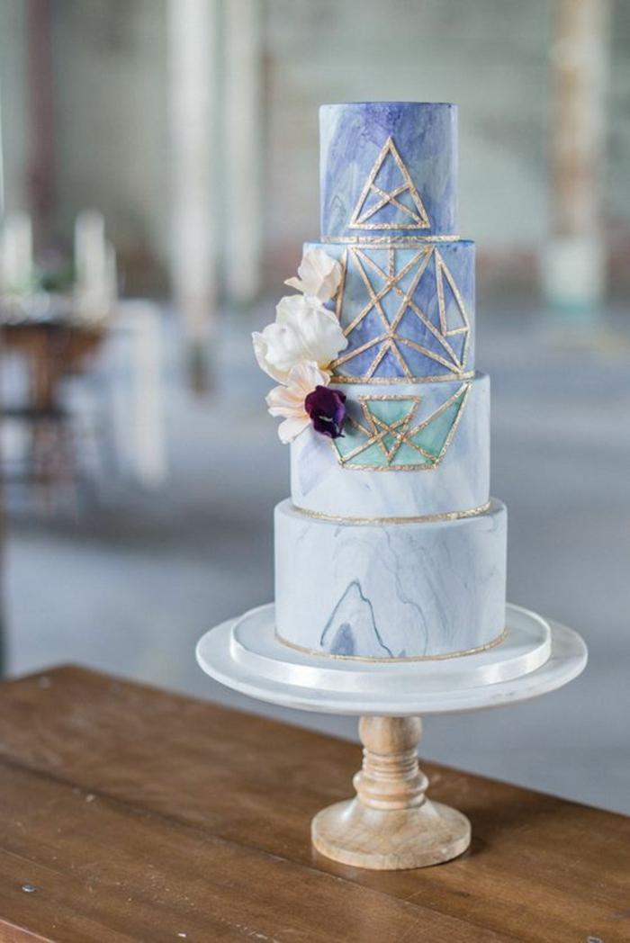 déco géométrique gâteau de mariage 2019