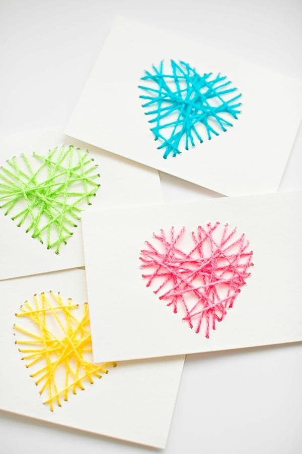 diy carte fête des mères personnalisée coeur carton fil tendu
