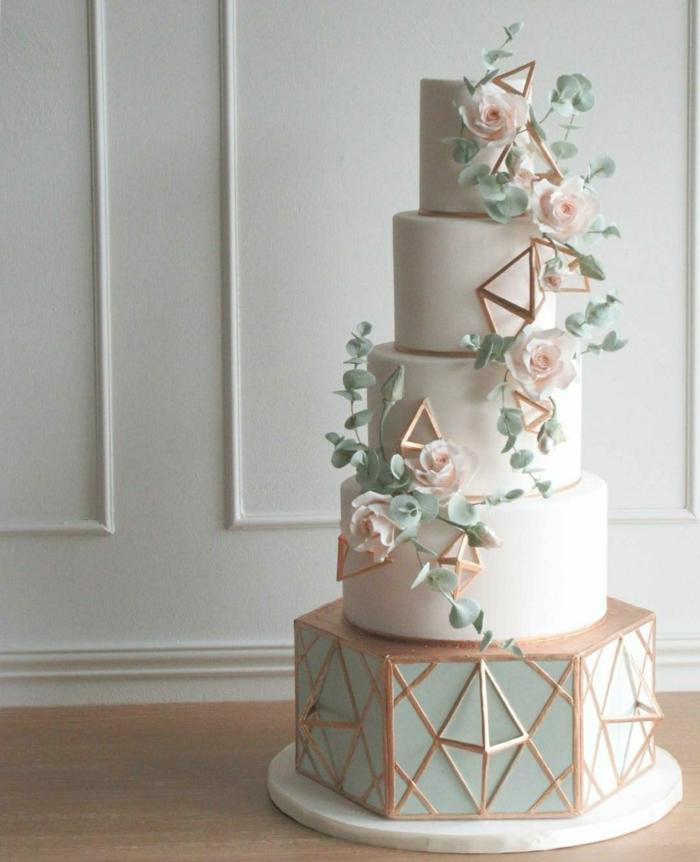gâteau de mariage 2019 déco formes géométriques