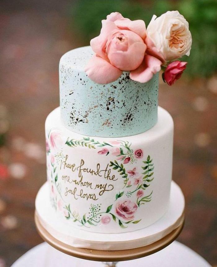 gâteau de mariage 2019 peint à la main