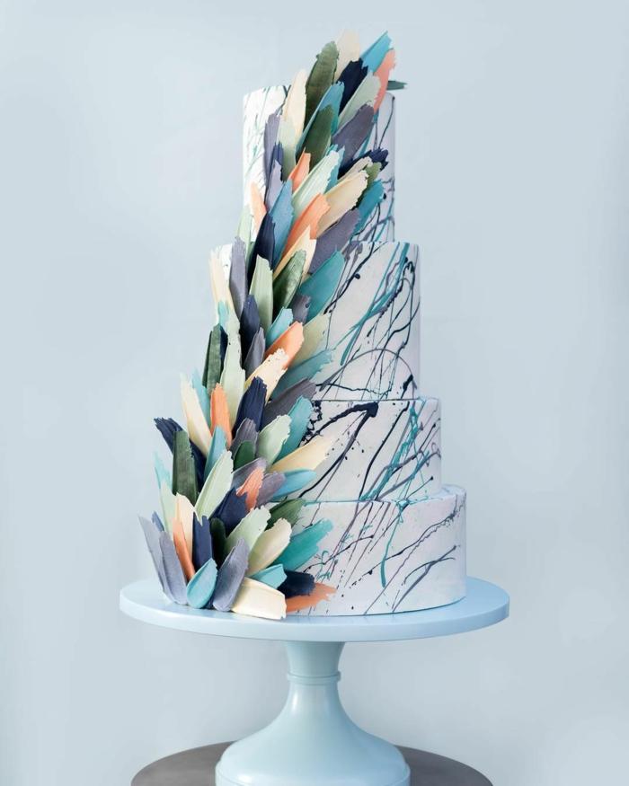 gâteau de mariage brushstroke stylé