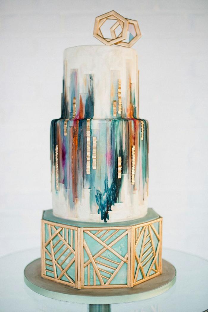 gâteau de mariage forme géométrique