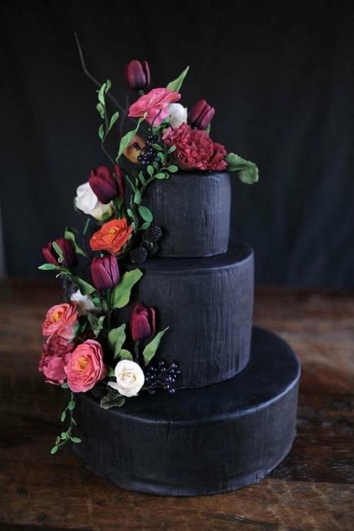 gâteau de mariage idée couleur noir