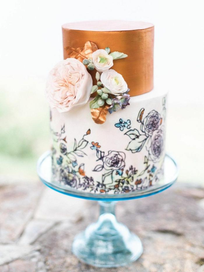 gâteau de mariage magnifique motifs floraux