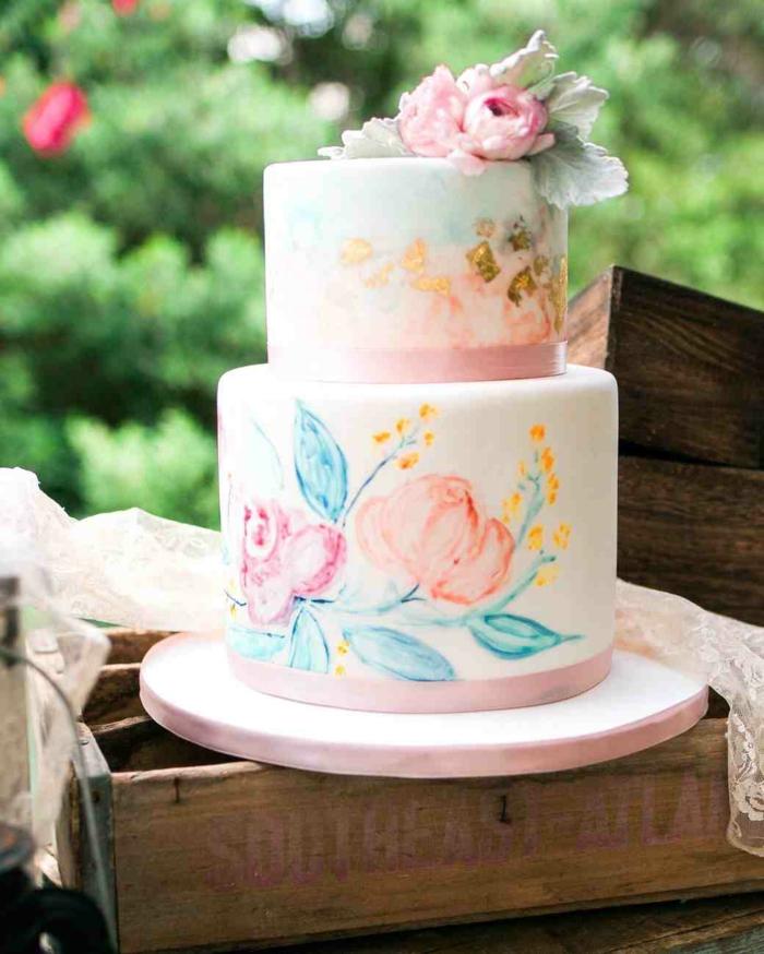gâteau de mariage peint à la main