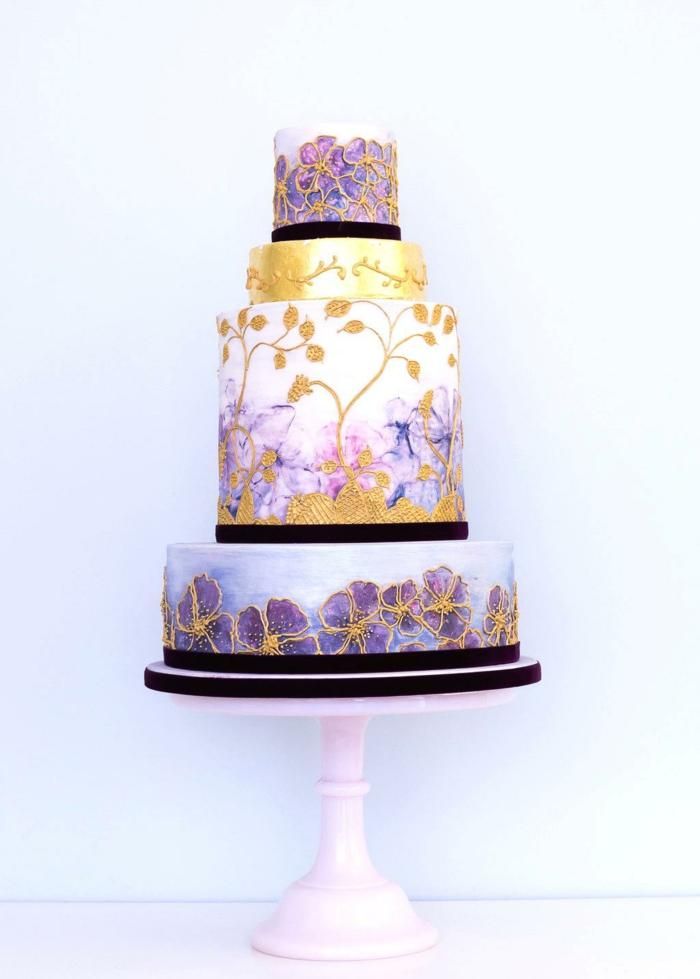 gâteau de mariage peint à la main magnifique