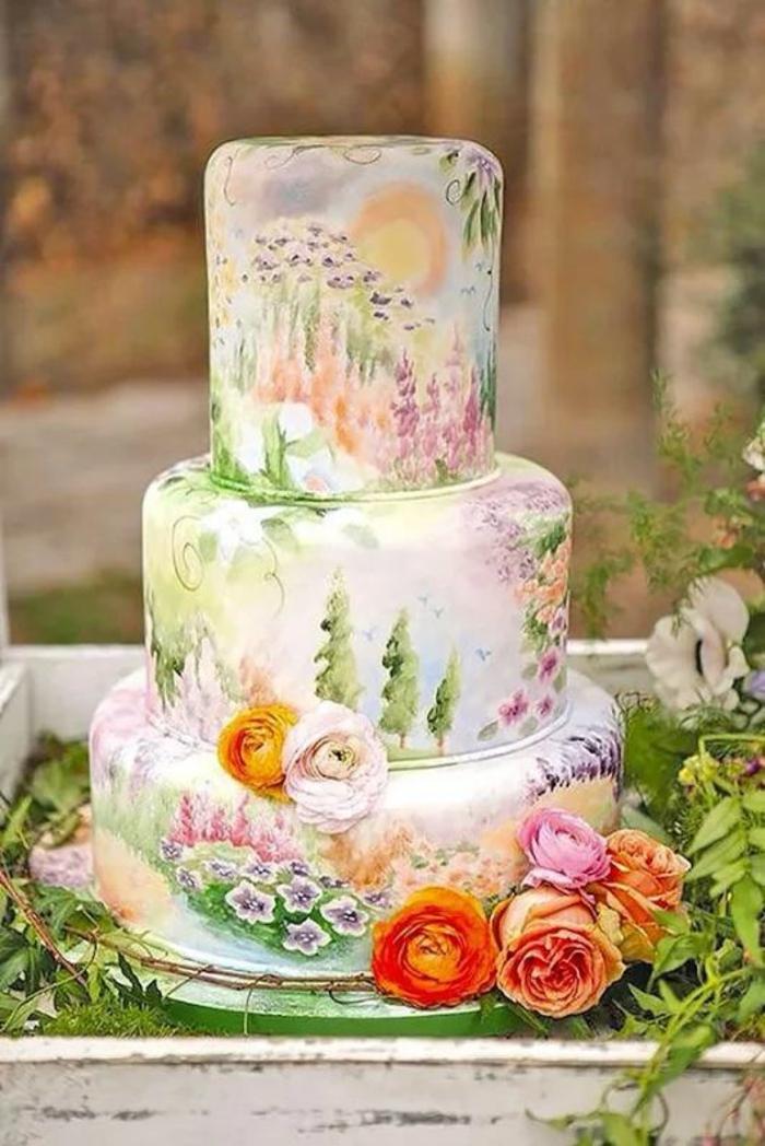 gâteau de mariage peint à la main merveilleux