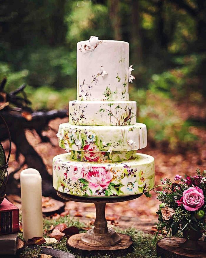 gâteau de mariage peint à la main original