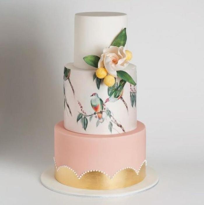 gâteau de mariage peint à la main stylé