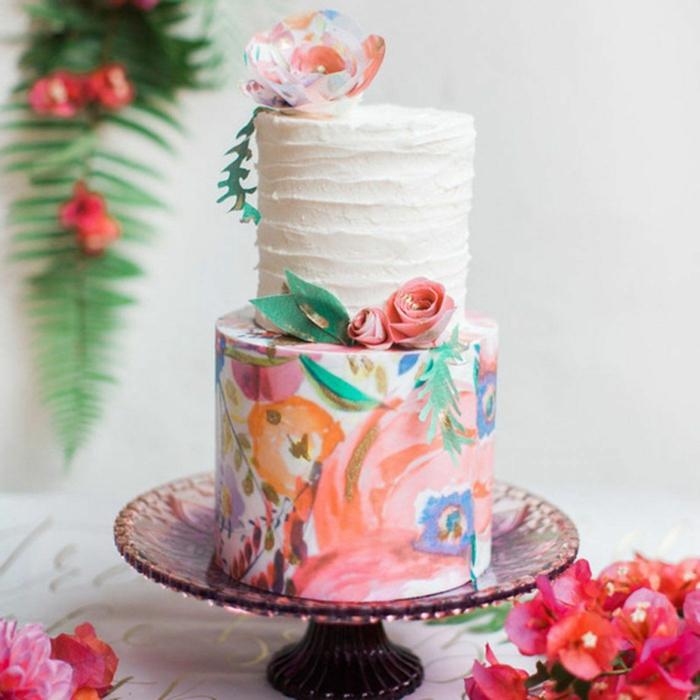 gâteau de mariage peint à la main très joli