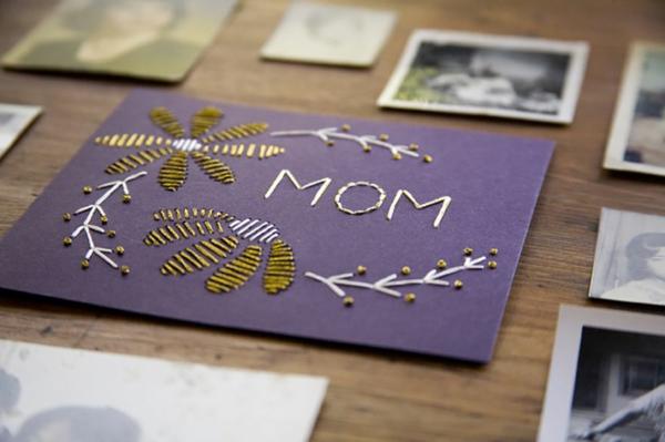 idée cadeau Carte Fête des Mères originale à fabriquer vous-même broderie