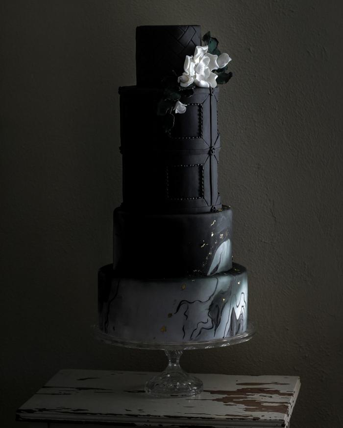 idée couleur noir gâteau de mariage 2019
