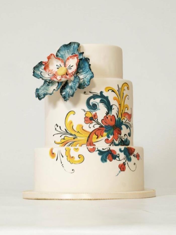 idée de gâteau de mariage peint à la main