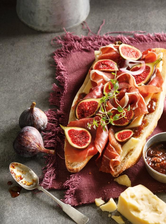 idée originale recette bruschetta aux figues et jambon