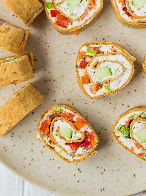 idée wrap apéro légumes croquants herbes fromage crème
