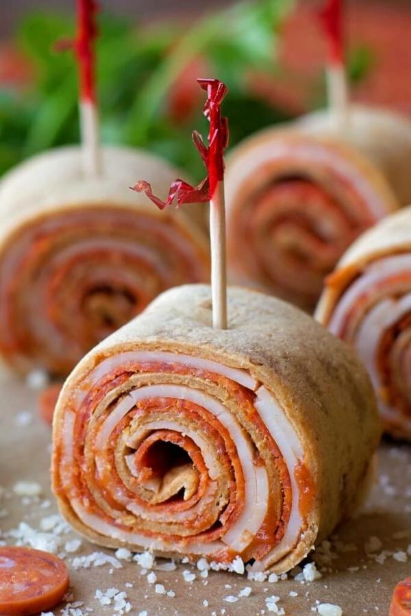 idée wrap apéro tortilla Pepperoni jambon
