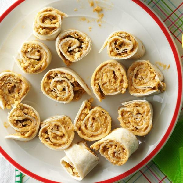 idée wrap apéro tortilla beurre de cacahuète miel céréales