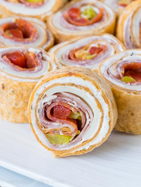 idée wrap apéro tortilla cheddar fromage crème poivron rouge