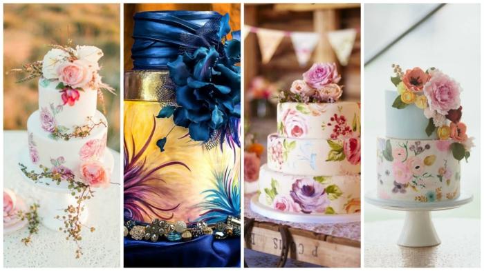 idées gâteau de mariage peint à la main