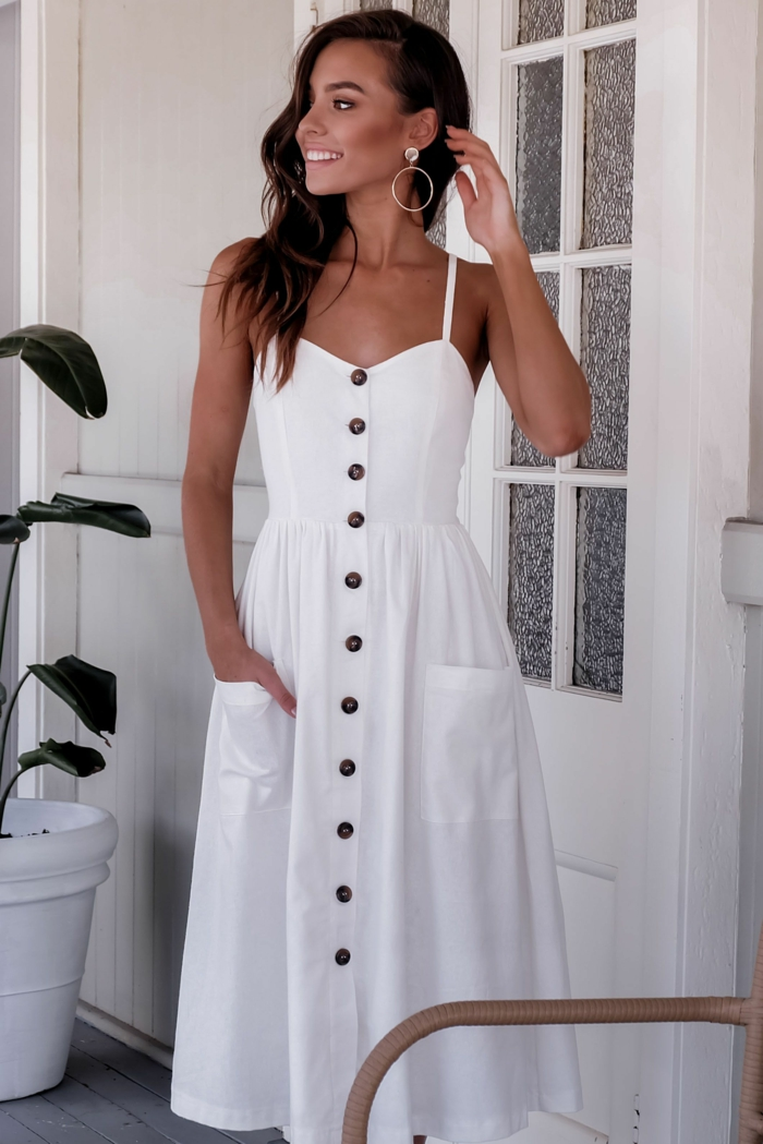 mode 2019 robe boutonnée devant blanche