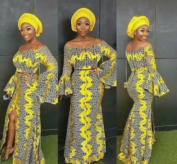 mode africaine femme 2019 gris et jaune