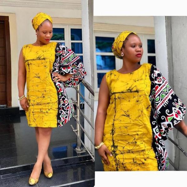 mode africaine femme 2019 turban et robe en jaune