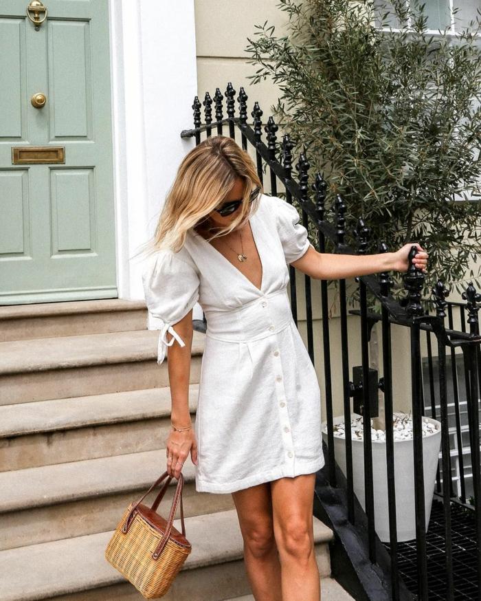 mode femme robe boutonnée devant blanche