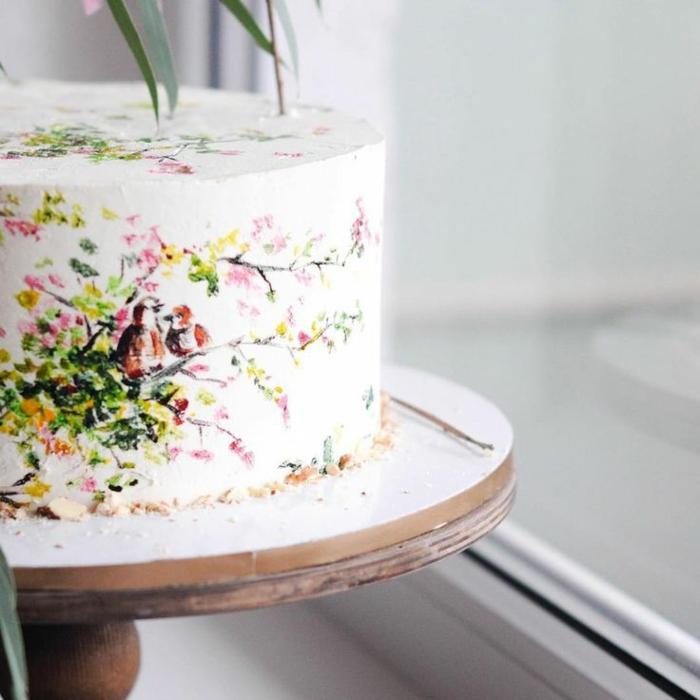 oeuvre d'art gâteau de mariage peint à la main